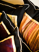 Hill tribe fabric pillows at Anantara Golden Triangle resort.