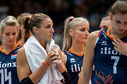 04-08-2019 ITA: FIVB Tokyo Volleyball Qualification 2019 / Netherlands, - Italy Catania<br /> last match pool F in hall Pala Catania between Netherlands - Italy for the Olympic ticket. Italy win 3-0 and take the ticket to the Olympics / Myrthe Schoot #9 of Netherlands, Marrit Jasper #18 of Netherlands, Juliët Lohuis #7 of Netherlands