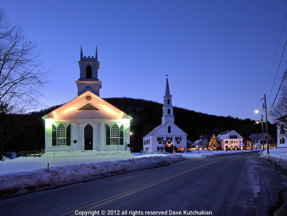 On a cold winter's night the Newfane VT Church pierces the night inviting all comers to celebrate the Holiday