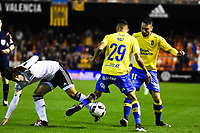 Valencia CF's  Jose Gaya and UD Las Palmas' Momo and Culio during spanish King's Cup match. January 21, 2016. (ALTERPHOTOS/Javier Comos)