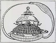 Hindu conception of the universe showing it encircled by a snake, symbo of eternity.