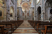 Nave of the Church of St Catherine, or Chiesa di Santa Caterina, built 1566-96 in Sicilian Baroque, Rococo and Renaissance styles, by  Giorgio di Faccio, Francesco Camilliani, Antonio Muttone and Francesco Ferrigno, in Palermo, Sicily, Italy. The nave is Baroque, from the 17th and 18th centuries, with a wealth of colour and marble sculpture, bas reliefs and frescoes, with the theme of the life of St Catherine of Alexandria. Picture by Manuel Cohen