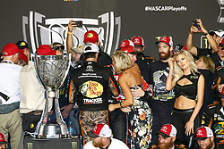 November 19, 2017 - Homestead, Florida, United States of America - November 19, 2017 - Homestead, Florida, USA: Dale Earnhardt Jr. (88) comes to congratulate Martin Truex Jr (78)  wins the 2017 Monster Energy NASCAR Cup Championship during the Ford EcoBoost 400 at Homestead-Miami Speedway in Homestead, Florida. (Credit Image: © Justin R. Noe Asp Inc/ASP via ZUMA Wire)