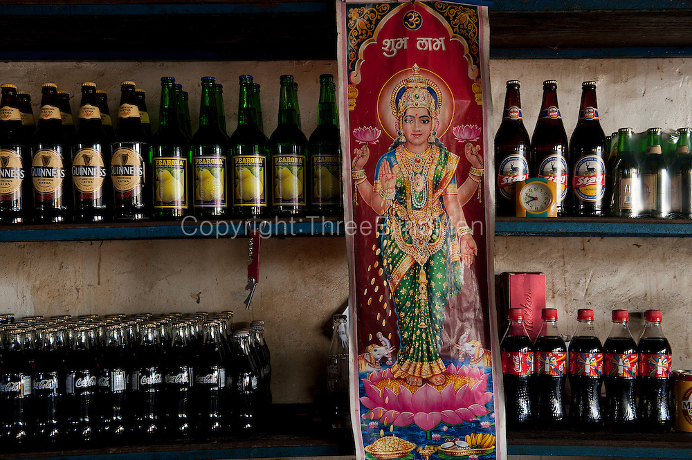 Mauritius. Guinness, Coca Cola, and Stag Beer and Goddess Lakshmi