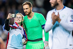 Jan Oblak of Slovenia taking selfie with a fan during the 2020 UEFA European Championships group G qualifying match between Slovenia and Israel at SRC Stozice on September 9, 2019 in Ljubljana, Slovenia. Photo by Grega Valancic / Sportida