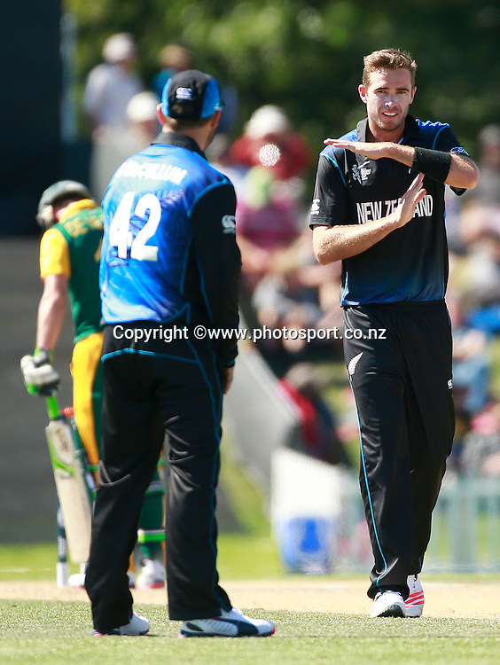Tim Southee of New Zealand following an unsuccessfull appeal for the wicket of AB de Villiers of South Africa during the ICC Cricket World Cup warm up game between New Zealand v South Africa at Hagley Oval, Christchurch. 11 February 2015 Photo: Joseph Johnson / www.photosport.co.nz