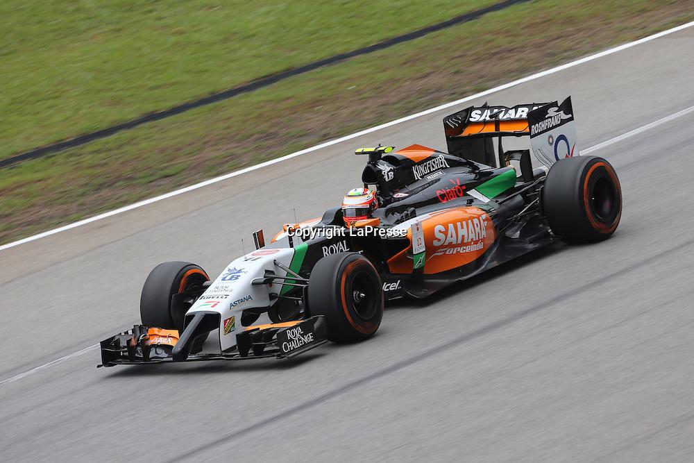 &copy; Photo4 / LaPresse<br /> 29/3/2014 Sepang, Malaysia<br /> Sport <br /> Grand Prix Formula One Malaysia 2014<br /> In the pic: Sergio Perez (MEX) Sahara Force India F1 VJM07