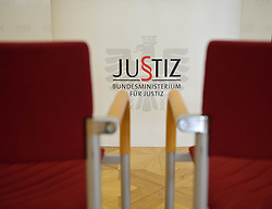 02.02.2012, Justizministerium, Wien, AUT, Pressekonferenz mit Bundesministerin fuer Justiz Dr. Beatrix Karl zum Thema Vertrauensoffensive Justiz mit Veroeffentlichung von Ergebnissen der Karmasin Studie, im Bild Feature leere Sessel vor Schriftzug Justiz, Bundesministerium für Justiz // during the press conference with minister of justice Dr. Beatrix Karl about the topic confidential offensive ministry of justice and publishing the result of Karmasin study, Ministry of Justice, Vienna, 2012-02-02, EXPA Pictures © 2012, PhotoCredit: EXPA/ M. Gruber