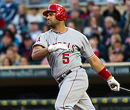 Los Angeles Angels Albert Pujols bats against the Minnesota Twins on May 8, 2012 at Target Field in Minneapolis, Minnesota.  The Twins defeated the Angels 5 to 0. © 2012 Ben Krause