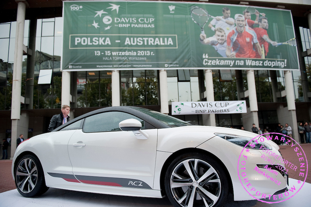Official car Peugeot before the BNP Paribas Davis Cup 2013 between Poland and Australia at Torwar Hall in Warsaw on September 13, 2013.<br /> <br /> Poland, Warsaw, September 13, 2013<br /> <br /> Picture also available in RAW (NEF) or TIFF format on special request.<br /> <br /> For editorial use only. Any commercial or promotional use requires permission.<br /> <br /> Photo by © Adam Nurkiewicz / Mediasport