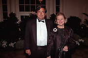 Energy Secretary and former UN Ambassador Bill Richardson with his wife Barbara arrive for the State Dinner for Argentine President Carlos Menem January 11, 1999 at the White House.