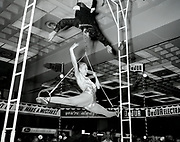 Trapeze artist showing act