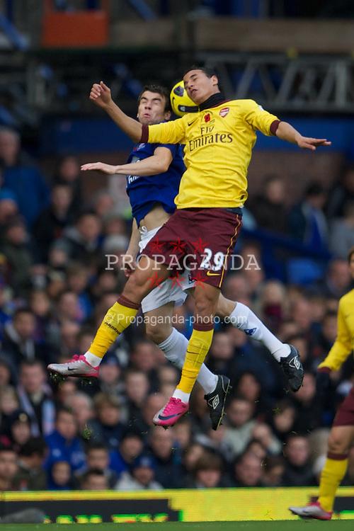 LIVERPOOL, ENGLAND - Sunday, November 14, 2010: Everton's Seamus Coleman and Arsenal's Marouane Chamakh during the Premiership match at Goodison Park. (Photo by: David Rawcliffe/Propaganda)