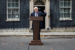© Licensed to London News Pictures. 06/11/2019. London, UK. Prime Minister Boris Johnson delivers a statement on Downing Street after parliament was dissolved. The UK will hold a general election on 12 December. Photo credit: Rob Pinney/LNP