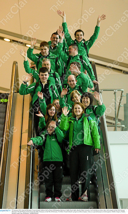 25 January 2013; Special Olympics Team Ireland Athletes led by Head of Delegation Barbara Cahill, front right, ahead of their departure to South Korea where they will compete at the 2013 Special Olympics World Winter Games from the 29th of January to the 5th of February. To follow Team Ireland's progress at these Games visit www.specialolympics.ie/wintergames. Dublin Airport, Dublin. Picture credit: Ray McManus / SPORTSFILE