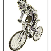 "Bicycling Postcard - Primitive MTB. Suitable for use on a 4"" x 6"" printed postcard."