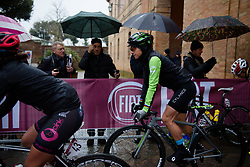 Giorgia Bronzini braves the rain at Strade Bianche - Elite Women 2018 - a 136 km road race on March 3, 2018, starting and finishing in Siena, Italy. (Photo by Sean Robinson/Velofocus.com)