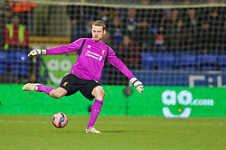 BOLTON, ENGLAND - Wednesday, February 4, 2015: Liverpool's goalkeeper Simon Mignolet in action against Bolton Wanderers during the FA Cup 4th Round Replay match at the Reebok Stadium. (Pic by David Rawcliffe/Propaganda)