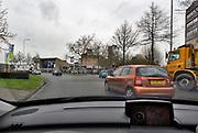 Nederland, Nijmegen, 15-1-2018 Het KeizerKarelplein is het gevaarlijkste plein, verkeersplein, van het land. Verkeer wat op de rotonde rijdt moet voorrang geven aan dat wat de rotonde op komt. Foto: Flip Franssen