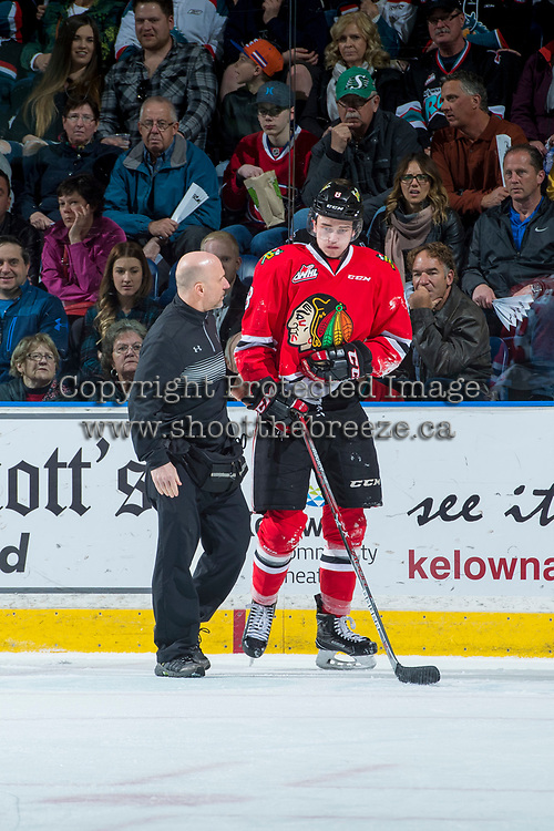 KELOWNA, CANADA - APRIL 14: Portland Winterhawks' athletic therapist Rich Campbell tends to Cody Glass #8 of the Portland Winterhawks after an on ice injury against the Kelowna Rockets on April 14, 2017 at Prospera Place in Kelowna, British Columbia, Canada.  (Photo by Marissa Baecker/Shoot the Breeze)  *** Local Caption ***