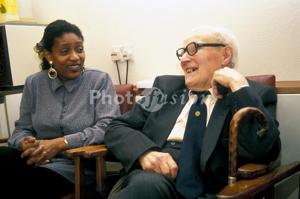 Elderly man in day centre UK