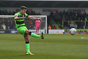 Forest Green Rovers Liam Shephard(2) crosses the ball during the EFL Sky Bet League 2 match between Forest Green Rovers and Macclesfield Town at the New Lawn, Forest Green, United Kingdom on 13 April 2019.
