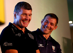 Exeter Chiefs Director of Rugby Rob Baxter and London Irish Director of Rugby Nick Kennedy take part in a press conference at the Aviva Premiership Rugby 2017/18 season launch - Mandatory by-line: Robbie Stephenson/JMP - 24/08/2017 - RUGBY - Twickenham - London, England - Premiership Rugby Launch
