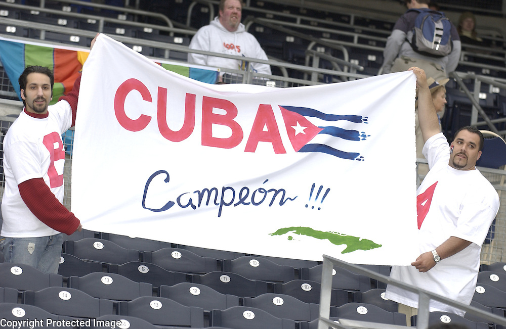 Team Cuba fans show their support before the start of the game against Team Japan in Final action of the World Baseball Classic at PETCO Park, San Diego, CA.