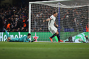 Paris Saint Germain striker Zlatan Ibrahimovic (10) scoring PSG second goal during the Champions League match between Chelsea and Paris Saint-Germain at Stamford Bridge, London, England on 9 March 2016. Photo by Matthew Redman.