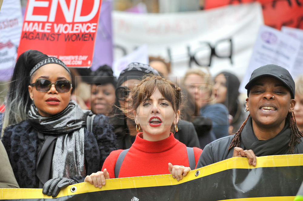 © Licensed to London News Pictures. 10/03/2018. LONDON, UK.  Olivia Lovibond, actress, joins thousands of women taking part in the annual Million Women Rise march and rally, walking from Oxford Street to Trafalgar Square to protest against male violence towards women.  Photo credit: Stephen Chung/LNP