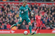 Simon Mignolet (Liverpool) during the Barclays Premier League match between Liverpool and Stoke City at Anfield, Liverpool, England on 10 April 2016. Photo by Mark P Doherty.