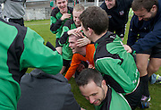 Oranbay's Damien Glynn the hero congratulated by team mates as they celebrate in Terryland. Photo:Andrew Downes