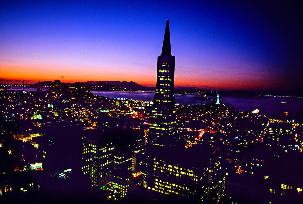 Transamerica Pyramid and the skyline of  San Francisco, California USA