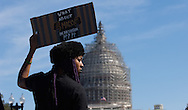 A woman holds a sign in front of the U.S. Capitol in Washington, DC during the 20th. Anniversary of the Million Man March / Justice Or Else March on Saturday morning, October 10, 2015. The march was led by the Muslim leader Minister Louis Farrakhan.  © Chet Gordon for the NY Daily News