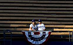 October 6, 2017 - Los Angeles, California, U.S. - Los Angeles Dodgers fans look on from the left field pavilion seats during batting practice prior to a National League Divisional Series baseball game against the Arizona Diamondbacks at Dodger Stadium on Friday, Oct. 06, 2017 in Los Angeles. (Photo by Keith Birmingham, Pasadena Star-News/SCNG) (Credit Image: © San Gabriel Valley Tribune via ZUMA Wire)