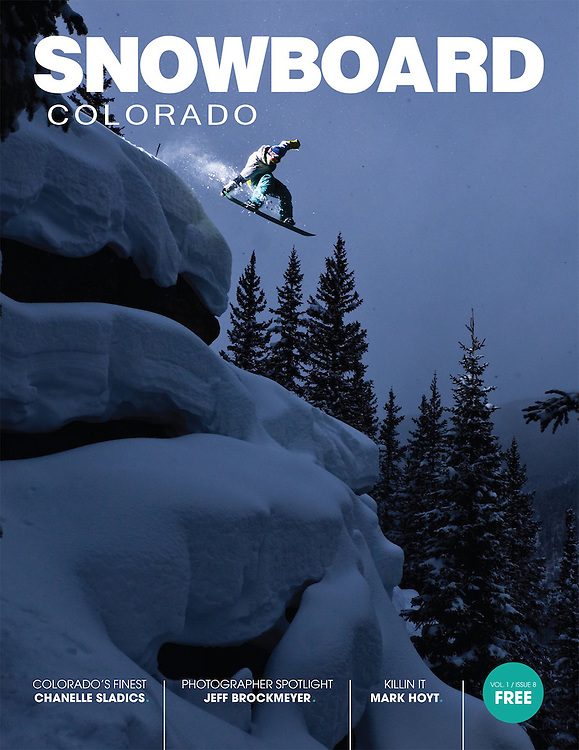 Mark Hoyt on the cover of Snowboard Colorado.