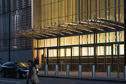 One World Trade Center Main Office Entrance, North Elevation, at Dusk. 20 May 2015