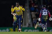 Hampshire T20 all-rounder Darren Sammy celebrates during the NatWest T20 Blast South Group match between Hampshire County Cricket Club and Kent County Cricket Club at the Ageas Bowl, Southampton, United Kingdom on 2 June 2016. Photo by David Vokes.