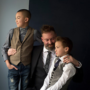 Drew Green with his sons Liam and Aidan | For National Post