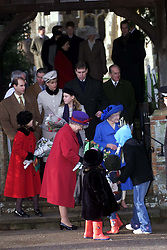 .Royals in Sandringham..The Royal Family on the steps after the service on Christmas Day at church in Sandringham, Photo by Andrew Parsons/i-Images.Queen Mother at Sandringham attending church service on Christmas Day 2000. Photo by Andrew Parsons/i-Images.
