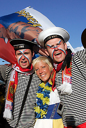 Fans of Sweden and Russia before the UEFA EURO 2008 Group D soccer match between Sweden and Russia at Stadion Tivoli NEU, on June 18,2008, in Innsbruck, Austria. Russia won 2:0. (Photo by Vid Ponikvar / Sportal Images)