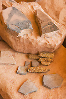 Pottery shards and corn cobs at Perfect Kiva Site, Bullet Canyon, Grand Gulch Primitive Area, Cedar Mesa Utah Bears Ears National Monument
