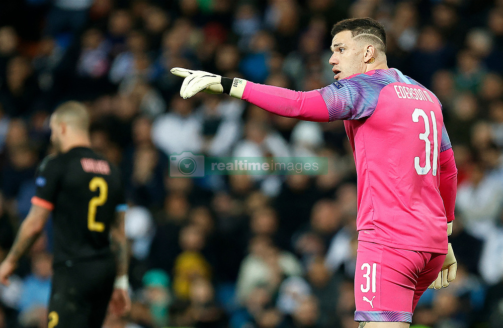 Ederson of Manchester City during the UEFA Champions League round of 16 first leg match Real Madrid v Manchester City at Santiago Bernabeu stadium on February 26, 2020 in Madrid, Sdpain. Real was defeated 1-2. Photo by Manu R.B.AlterPhotos/ABACAPRESS.COM