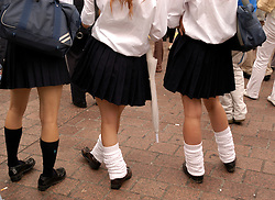 Detail of japanese schoolgirls with mini skirts and socks in Tokyo