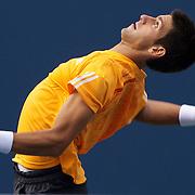 Novak Djokovic, Serbia, in action against Fernando Verdasco, Spain, during the US Open Tennis Tournament at Flushing Meadows, New York, USA, on Wednesday, September 9, 2009. Photo Tim Clayton