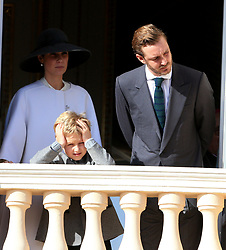 Tatiana Santo Domingo and Pierre Casiraghi The royal family of Monaco posing at the balcony of the Grimaldi castle for the National Day festivities on November 19th 2019.