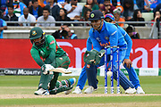Liton Das of Bangladesh plays a sweep shot during the ICC Cricket World Cup 2019 match between Bangladesh and India at Edgbaston, Birmingham, United Kingdom on 2 July 2019.