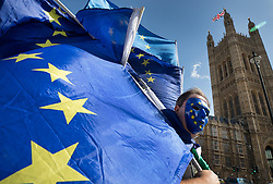 © Licensed to London News Pictures. 11/09/2017. London, UK. Pro-EU supporters gather outside Parliament ahead of the debate and vote on the European Union Repeal bill. Photo credit: Peter Macdiarmid/LNP