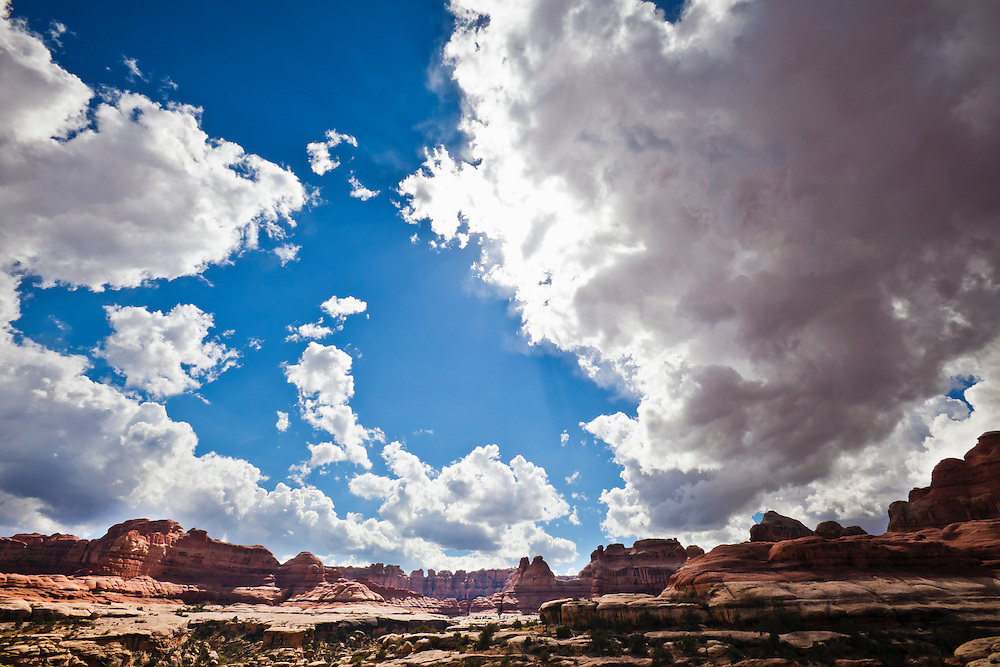 Thunder clouds over Squaw Canyon in October, 2010.  Canyonlands National Park, The Needles District.  Southeast Utah, USA.