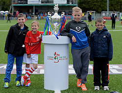 NEWTOWN, WALES - Saturday, May 2, 2015: Fans pose for a photo with the trophy before the FAW Welsh Cup Final between The New Saints and Newtown at Latham Park. (Pic by Ian Cook/Propaganda)